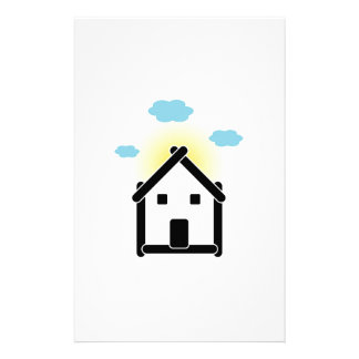 House with cloud and sunlight stationery