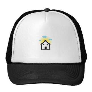 House with cloud and sunlight trucker hat