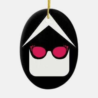 House with fashion eyeglass or sun glass ceramic ornament