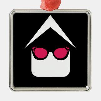 House with fashion eyeglass or sun glass metal ornament