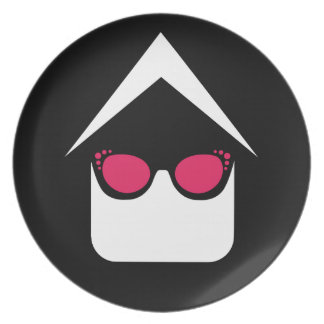 House with fashion eyeglass or sun glass plate
