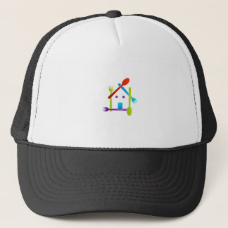 House with forks and spoons trucker hat