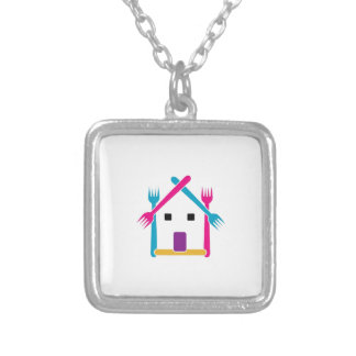 House with forks necklaces