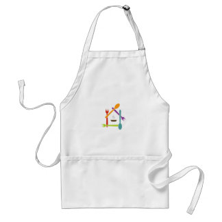 House with fpoons and forks and a soup bowl adult apron