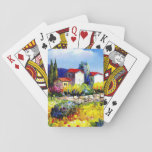 "house with garden colorful oil painting travel fun playing cards<br><div class=""desc"">Bursting with color,  this gorgeous oil painting features a white house with a red tile roof,  basking in the summer sun,  overlooking lush gardens,  with mountains in the distance.</div>"