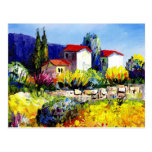 house with garden colorful oil painting travel fun postcard
