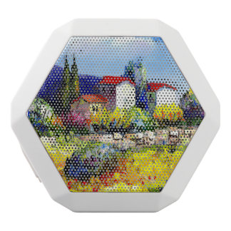 house with garden colorful oil painting travel fun white bluetooth speaker