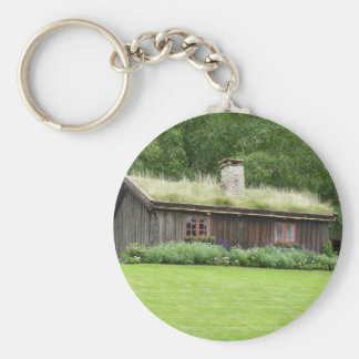 House with grass roof keychain