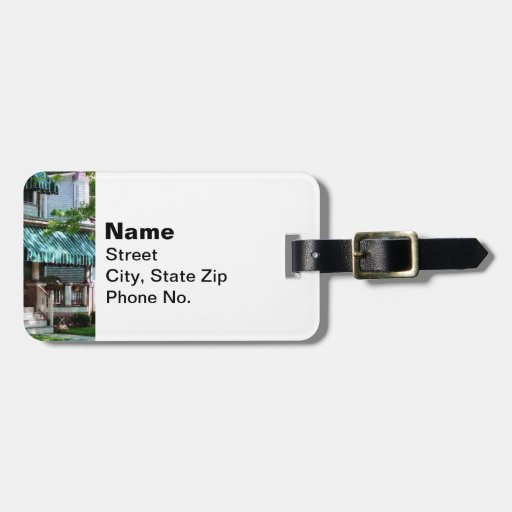 House With Green Striped Awning Bag Tag