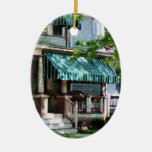 House With Green Striped Awning Christmas Ornament