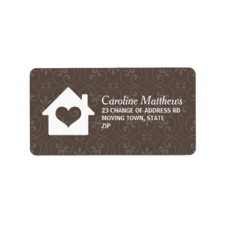 House with heart on brown damask background label