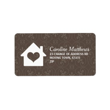 Valentines Themed House with heart on brown damask background label