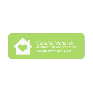 House with heart on lime green background label