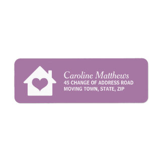 House with heart on purple background return address label