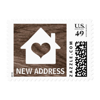 House with heart on wood grain change of address postage