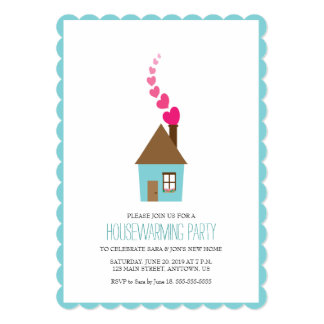 House with Hearts Above Chimney Housewarming Card