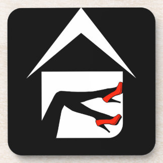 House with ladies legs drink coaster