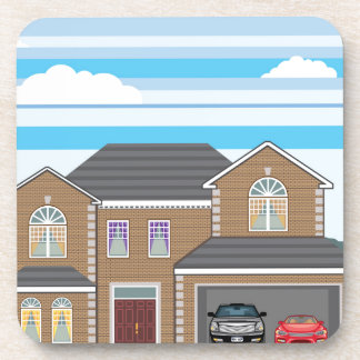 House with open garage. 2 cars drink coaster