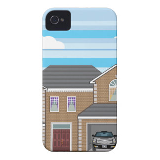 House with open garage. 2 cars iPhone 4 cover