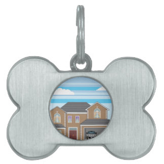 House with open garage. 2 cars pet tag
