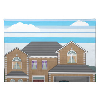 House with open garage. 2 cars placemat