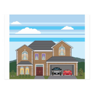 House with open garage. 2 cars postcard