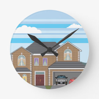 House with open garage. 2 cars round clock