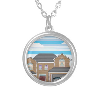 House with open garage. 2 cars silver plated necklace