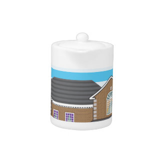 House with open garage. 2 cars teapot