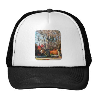 House With Picket Fence in Autumn Mesh Hat