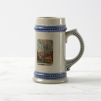House With Picket Fence in Autumn 18 Oz Beer Stein