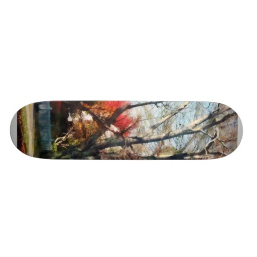 House With Picket Fence in Autumn Custom Skate Board