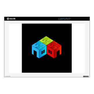 """House with puzzle roof decal for 17"""" laptop"""