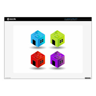 """House with puzzle roof 15"""" laptop decals"""