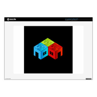 House with puzzle roof laptop decals