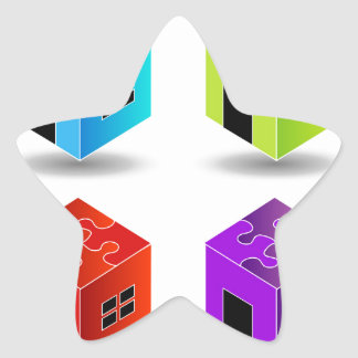 House with puzzle roof star sticker
