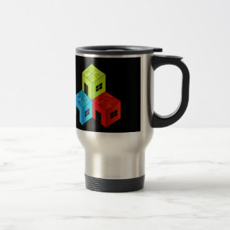 House with puzzle roof travel mug