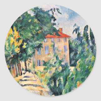 House With Red Roof By Paul Cézanne (Best Quality) Classic Round Sticker