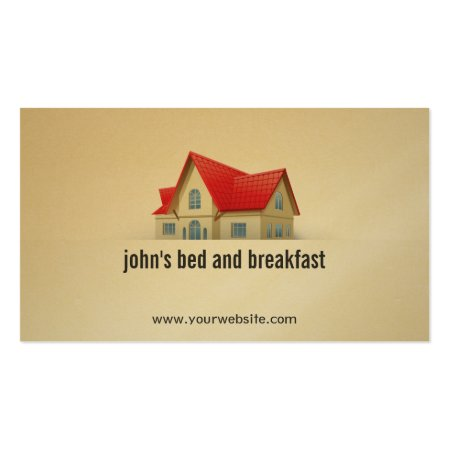 House with Red Roof Bed and Breakfast Business Card Template