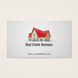 House with Red Roof Real Estate Business Card