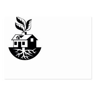 House With Roots and Leaves Sprout Large Business Card