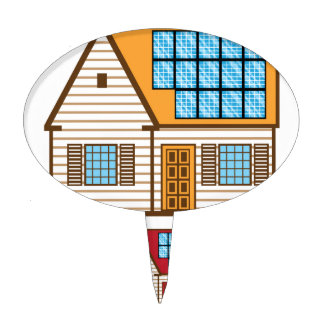 House with Solar Panels Cake Topper