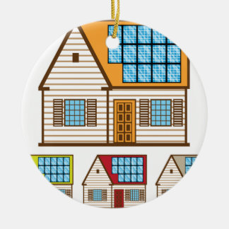 House with Solar Panels Ceramic Ornament