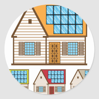 House with Solar Panels Classic Round Sticker