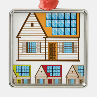 House with Solar Panels Metal Ornament