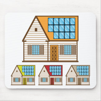 House with Solar Panels Mouse Pad