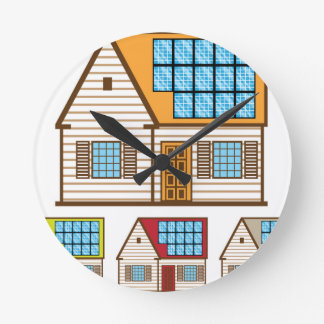 House with Solar Panels Round Clock