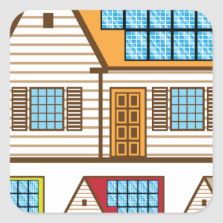 House with Solar Panels Square Sticker