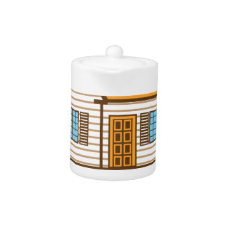 House with Solar Panels Teapot