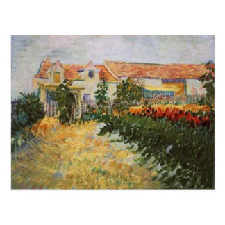 House with Sunflowers, Van Gogh Fine Art Postcard